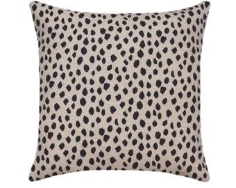 Dalmation Ink Beige Dalmatian Pillow Cover Black Spot Pillow Cover, Animal Print Pillow, Dot Print Decorative Pillow Cover