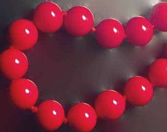 Vintage Red Glass Bead Necklace by Monet