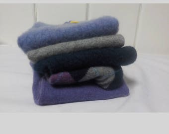 Upcycled Felted Cashmere Sweater Pieces - Blue, Purple and Gray