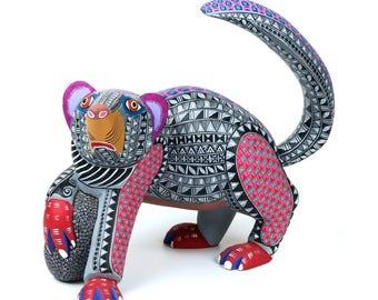 BADGER Oaxacan Alebrije Animal Wood Carving Mexican Folk Art Sculpture