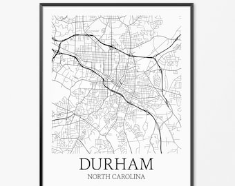 Durham North Carolina Central University Map Custom Color
