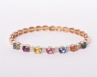 The Eleanor - 18K Rose Gold Multicolored Sapphire and Diamond Bangle