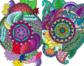 Zentangle Mandala Adult Coloring Pages