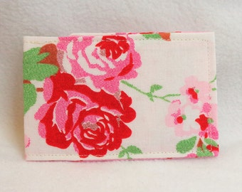 Red and gold leaf design oyster card holder travel cath kidston rosali fabric design oyster card holder train ticket holder credit card holder colourmoves