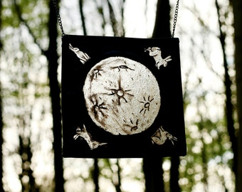 FREE UK POSTAGE Hanging Stained Glass Panel -Moon Rabbits  Suncatcher, home decor