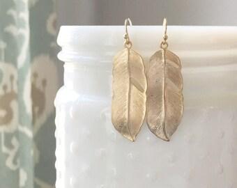 AVERY | Gold Feather Earrings | Long Gold Feather Earrings | Simple Earrings |Everyday Earrings | Feather Dangle Earrings