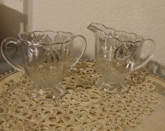 Vintage Glass //  Platinum  Sugar and Creamer Set
