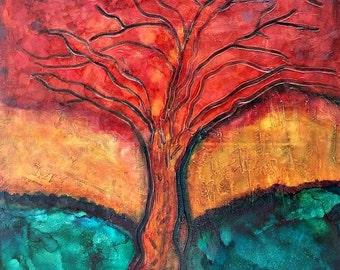 Autumn Love - 20 x 20 Original tree painting on canvas