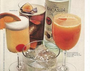 1971 Advertisement Bacardi Rum Screwdriver Cola Sour Cocktails 70s Mixed Drinks Pub Bar Man Cave Restaurant Cheers Wall Art Decor