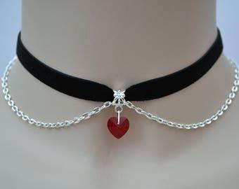 """Red Glass Heart Velvet Chained Choker, 10mm 3/8"""" Ribbon, Handmade In 16 Colours Options"""