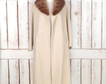 50s vintage tan/camel wool mink collar winter coat/long aline coat/ivory wool coat