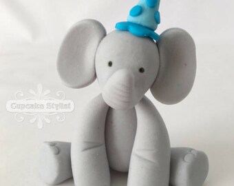"2"" tall Party Hat Fondant Elephant Cake Topper, by Cupcake Stylist"