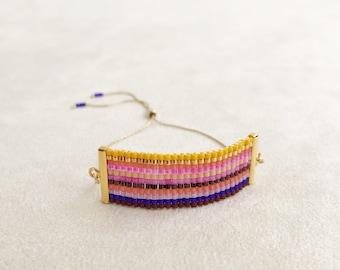 Beadwoven Adjustable Gold Chain Bracelet in Pink Multicolor Stripe