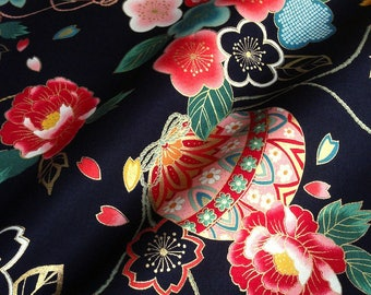 Japanese fabric, traditional Temari and flowers, black background, cotton 110 x 50 (004C)