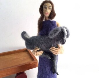 Needle felted art doll girl with goat totem sculpture wire armature rustic minimalist decor