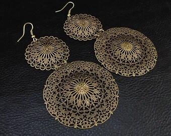 Statement filigree earrings, oversized lightweight antique brass tone chandelier earrings, ornate shoulder dusters