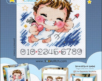 Angel and Evil (Boy) Counted cross stitch chart SODAstitch SO-4117
