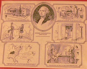 1947 George Washington Matted Vintage Print