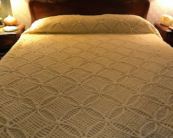 Fabulous Vintage Butter Yellow Cotton Chenille Bedspread- Double- Perfect!