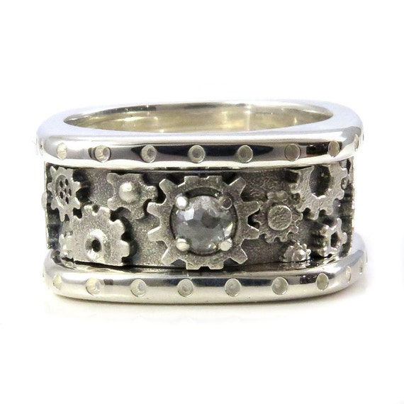 Ready to Ship Size 6.5-7 - Stacking Square Steampunk Gear Ring with Sandblasted Center & Rose Cut Grey Diamond - Sterling Silver Engagement