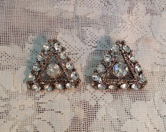 Pair of large rhinestone buttons triangular triangle silver tone metal sewing supply mid century Hollywood regency glam