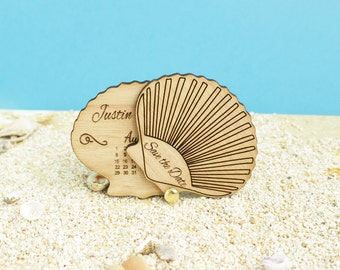 Calendar Save The Date Magnet, Clam Wood Save The Date, Nautical Save the date, Save The Date Magnet, Wood Wedding Save the Date,