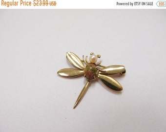 On Sale Vintage 1/20 12kt Gold Filled  Cultured Pearl and Scarab Dragonfly Pin Item K # 1064