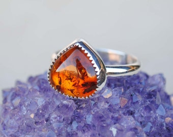 Amber Ring - Amber Ring Sterling Silver - Amber Jewelry (MADE TO ORDER)