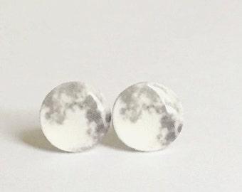 Full Moon Stud Earrings NASA, night sky,