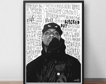 Skepta quote print / poster hand drawn type / typography