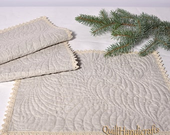 Linen Placemats -  Flax mini quilt - Set of 2 / 4 - linen snack mat - Flax cocktail napkins