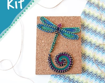 """DIY String Art Kit """"Dancing Dragonfly,"""" No Hammer Needed, 6"""" x 8"""", 6 Themes Available, Easy Quick Fun Craft Kit, by Pretty Twisted"""
