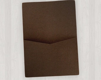 10 Flat Pocket Enclosures - Brown - DIY Invitations - Invitation Enclosures for Weddings and Other Events