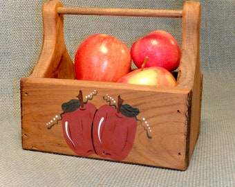 Wood Tote ~ Handcrafted ~ Hand Painted Apple Design