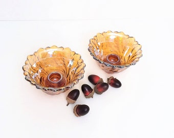 Carnival Glass Candlestick  holders, set of two, Indiana Glass Wild Rose