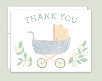 Baby Shower Thank You Cards, Vintage Baby Carriage Thank You Notes, Pram Thank You Cards, Baby Stroller Thank You Notes, Gender Neutral Baby