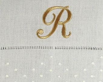 Monogrammed Linen Dot Guest Towel