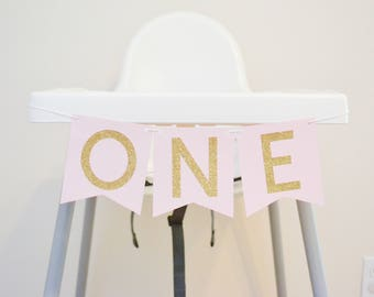 one highchair banner, one banner, high chair decor, 1st birthday banner, girl birthday banner, cake smash banner sign pink and gold