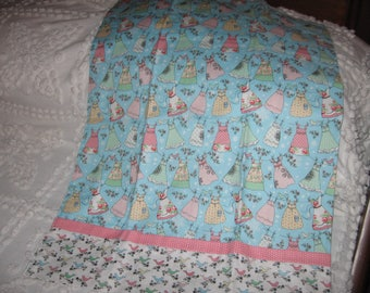Blue Pillowcase with pretty dresses on clothsline