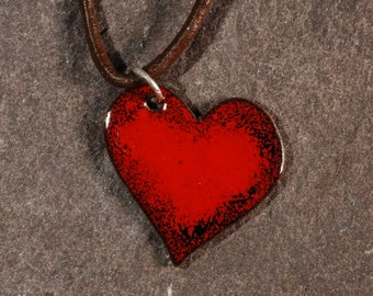 Red and black copper and enamel heart pendant