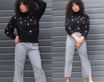 Vintage 80s Star Sweater | Black and Gold Embroidered Sweater | Lambswool Blend