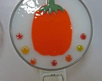 Pumpkin NLs 3 Choices - 3 Pumpkins to Choose From - Stained Glass & Fused glass Pumpkin Nightlights - Autumn/Fall Pumpkin Night Light
