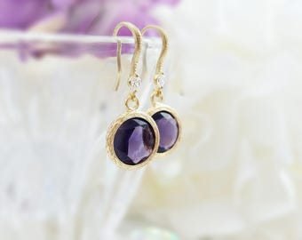 Gold Amethyst Earrings - Purple Crystal Earrings - CZ Drop Earring - Purple Dangle Earring - Purple Birthstone Jewelry Purple Earrings E2553