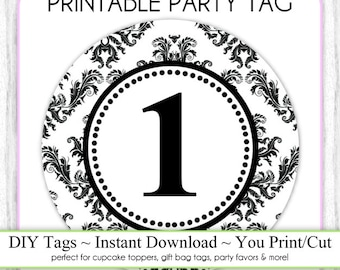 Instant Download - Party Printable Tag, Damask Party, 1st Birthday Party Tag, DIY Cupcake Topper, You Print, You Cut, DIY Party Tag