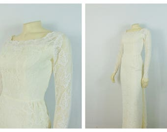 Vintage Wedding Dress 50s 60s Ivory White Slim Fit Lace Long Sleeves Back Bustle and Train XXS