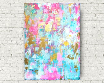 Modern Abstract Pink Painting, Modern Home Decor, Abstract Art Canvas, Abstract Gold Art, Palette Knife Canvas Art, Blue Abstract Art