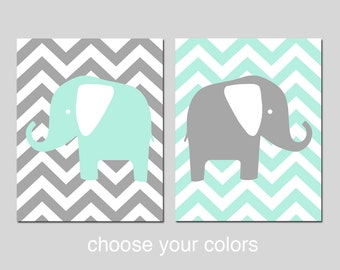 Chevron Elephant Nursery Decor Wall Art - Set of 2 Prints - CHOOSE YOUR COLORS - Shown in Pale Mint, Gray and More