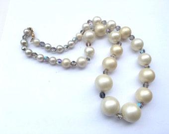 Rhinestone & Faux Pearl Wedding Necklace Pretty Bridal Fashion Jewelry