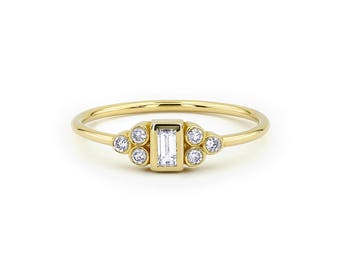 Diamond Baguette Engagement Ring / 14k Gold Baguette Diamond Ring / Wedding Ring