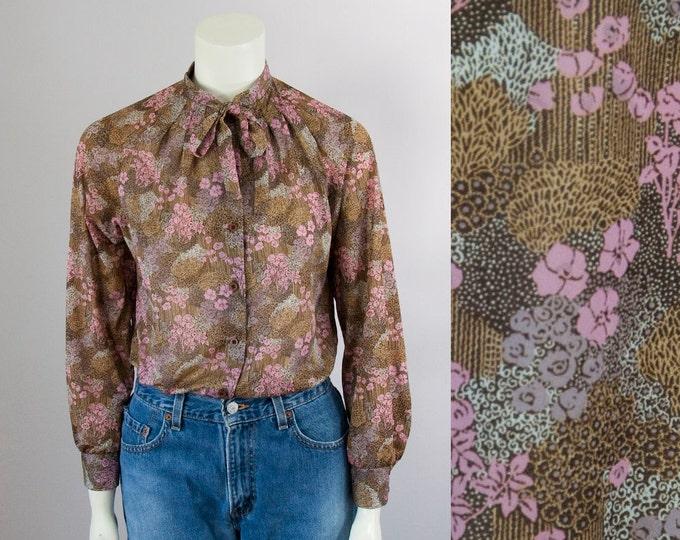 70s Vintage Brown Pink Floral Print Neck Tie Blouse (S)